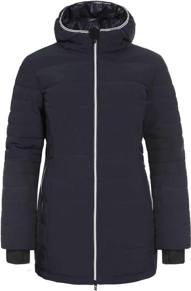 Куртка женская Luhta Petrina, цвет: темно-синий. 636466535LV. Размер 38 (44)636466535LV_390Женская куртка Icepeak Petrina выполнена из эластичного полиэстера. Наполнитель - материал FinnWad.Куртка с несъемным капюшоном застегивается на удобную застежку-молнию спереди. Молния дополнена защитой для подбородка. Рукава оснащены внутренними манжетами. Спереди расположены два втачных кармана на застежках-молниях, изнутри - втачной карман на застежке-молнии. Низ куртки дополнен шнурком-кулиской со стопперами.