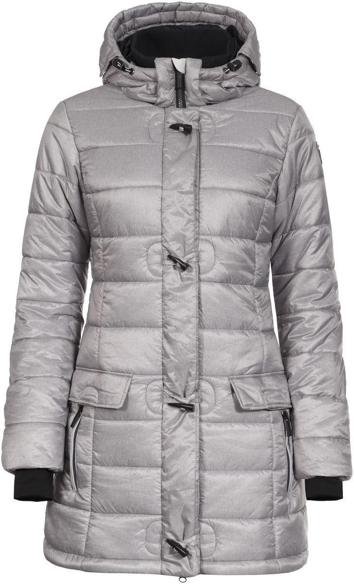 Куртка женская Luhta Penny, цвет: серо-бежевый. 636459358LV. Размер 44 (50)636459358LV_060Женская куртка Luhta Penny выполнена из полиэстера. Куртка с воротником-стойкой и съемным капюшоном на кнопках застегивается на удобную застежку-молнию спереди и имеет ветрозащитный клапан на кнопках. Капюшон дополнен шнурком-кулиской. Рукава оснащены внутренними трикотажными манжетами. Спереди расположены два втачных кармана на застежках-молниях и два втачных кармана с клапанами на кнопках, под ветрозащитный клапаном расположен втачной карман на застежке-молнии. Низ куртки дополнен эластичным шнурком-кулиской со стопперами.