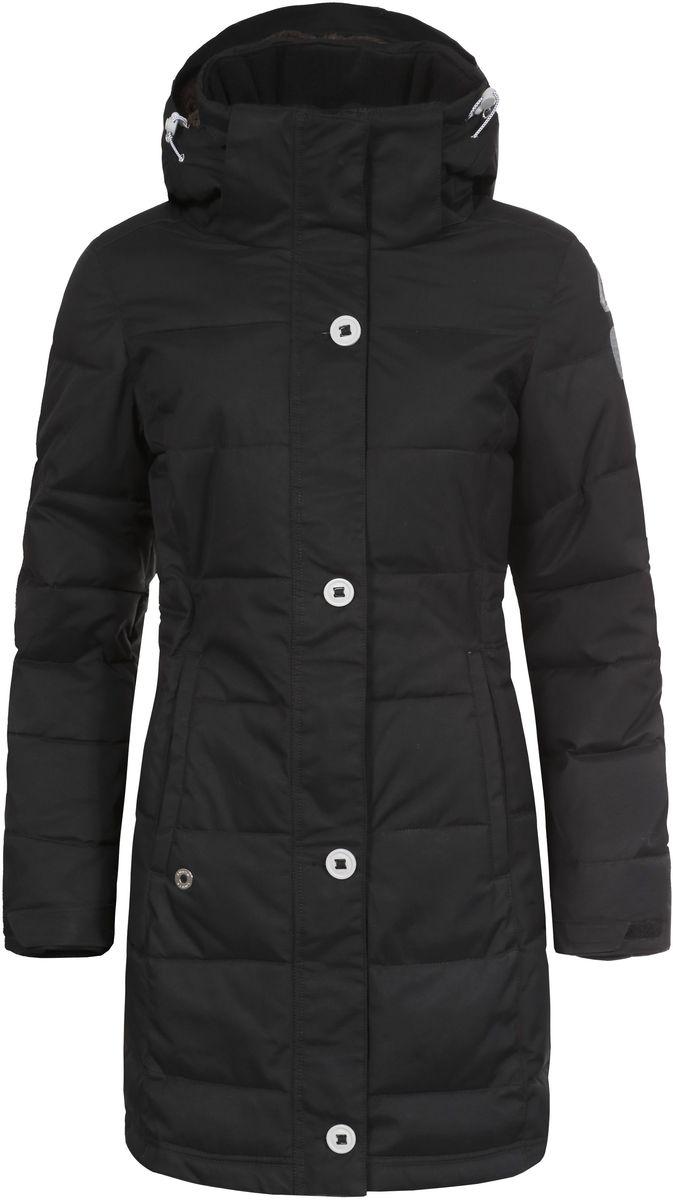 Куртка женская Luhta Berit, цвет: черный. 636426346LV. Размер 42 (48)636426346LV_990Женская куртка Luhta Berit выполнена из прочного полиамида. Наполнитель - материал FinnWad, изготовленный из полиэстера.Куртка с воротником-стойкой и съемным капюшоном застегивается на удобную застежку-молнию спереди и имеет ветрозащитный клапан на пуговицах. Капюшон дополнен шнурком-кулиской со стопперами. Рукава оснащены хлястиками на липучках и дополнены внутренними трикотажными манжетами. Спереди расположены два открытых втачных кармана, изнутри - втачной карман на застежке-молнии и накладной карман-сетка. Низ куртки оснащен внутренним шнурком-кулиской. Обхват талии также регулируется при помощи внутреннего шнурка-кулиски.