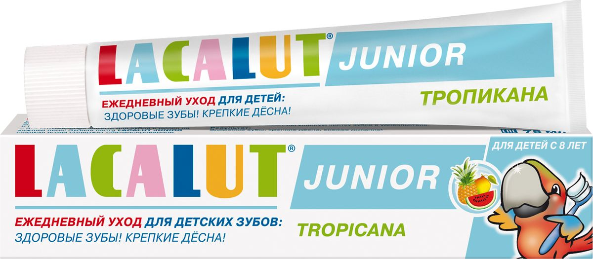 Lacalut Зубная паста Джуниор тропикана 8+, 75 мл melompo магнитная доска на холодильник chat