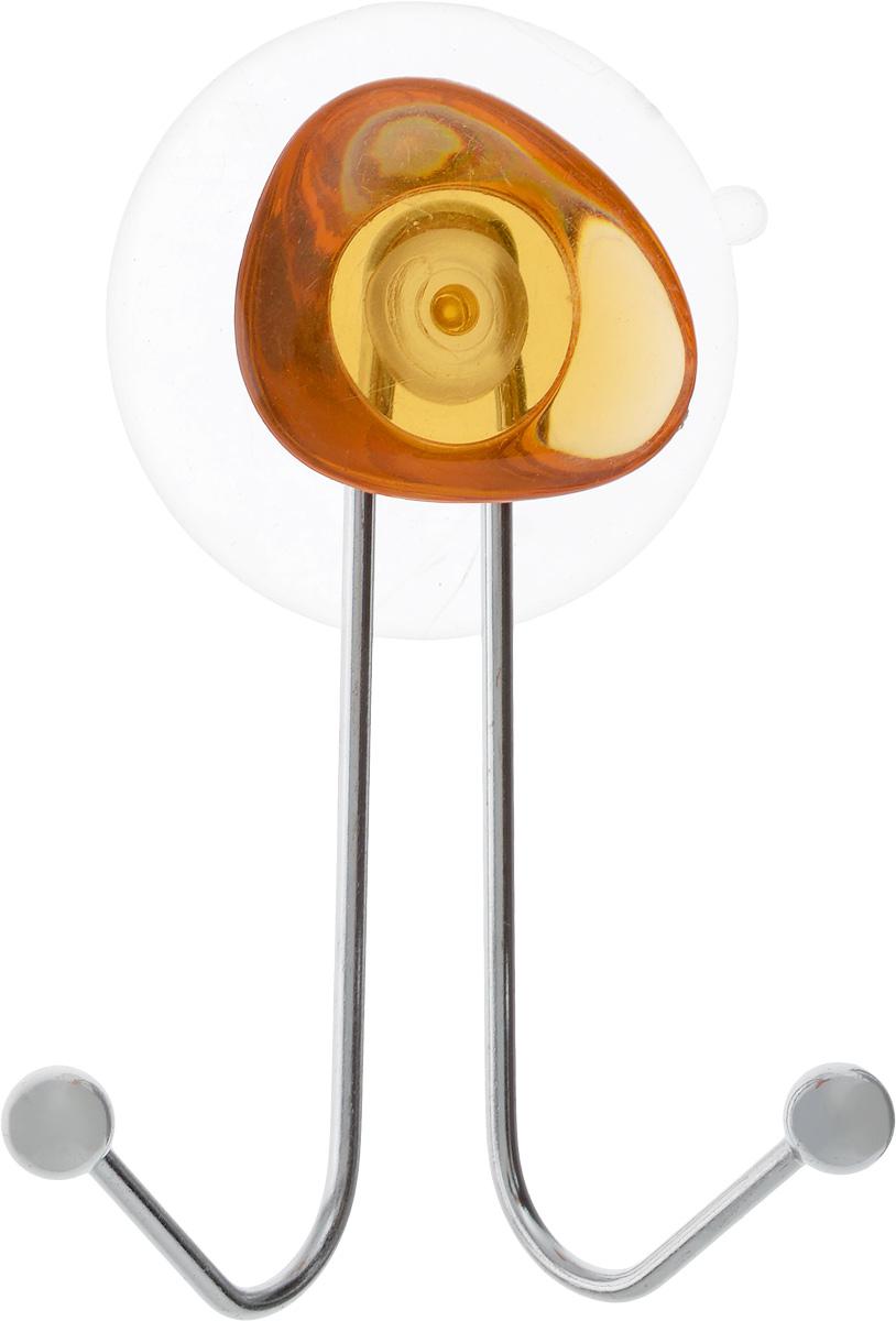 Крючок двойной Axentia Amica, на присоске, цвет: хром, оранжевый, высота 10 см282030_оранжевыйКрючок двойной Axentia Amica изготовлен из хромированной стали и украшен пластиковой вставкой. Крючок крепится к поверхности при помощи присоски. Для надежности крепления присоску необходимо устанавливать на гладкой, воздухонепроницаемой, очищенной и обезжиренной поверхности. Такой крючок прекрасно впишется в интерьер ванной комнаты и поможет эффективно организовать пространство.