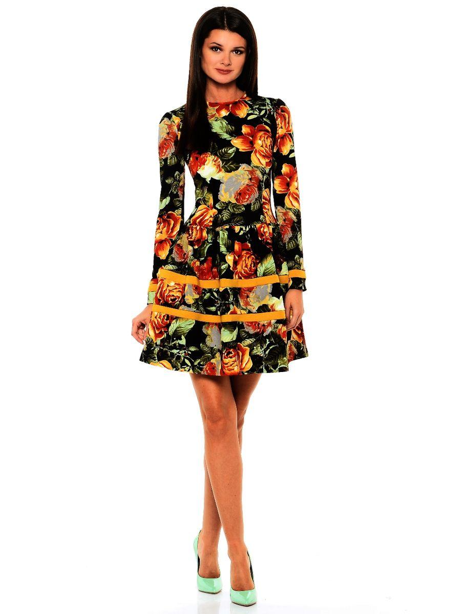 Платье La Via Estelar, цвет: черный, темно-зеленый, оранжевый. 14988-4. Размер 4814988-4Платье La Via Estelar имеет приталенный силуэт. Выполнено с юбкой-фонариком и классическим длинным рукавом. Дополнено вставками-полосками. Вплотную садится по фигуре.