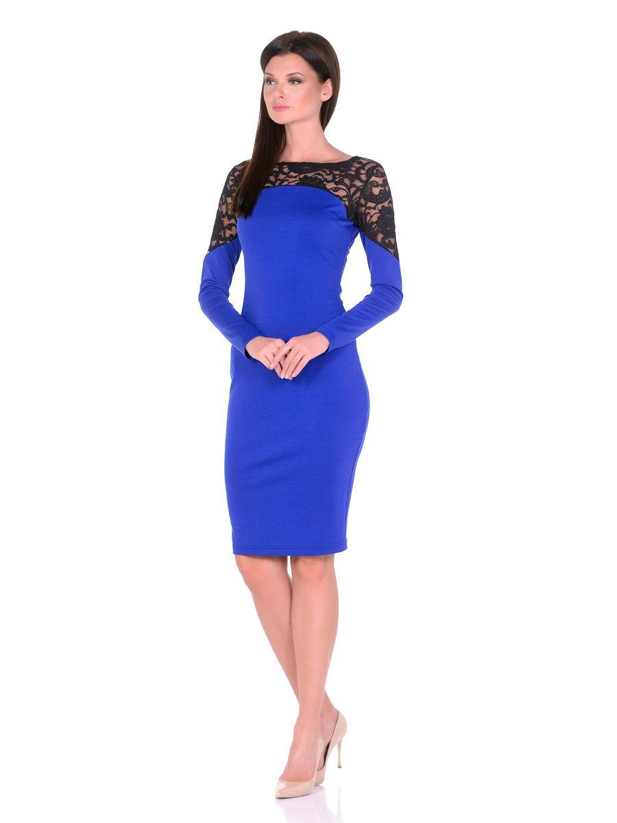 Платье La Via Estelar, цвет: синий. 14672-1. Размер 4414672-1Роскошное платье La Via Estelar выполнено из вискозы и полиэстера с добавлением лайкры. Верх платья оформлен кружевной вставкой. Модель миди-длины с круглым вырезом горловины и длинными рукавами. Имеет скрытую застежку-молнию сбоку.