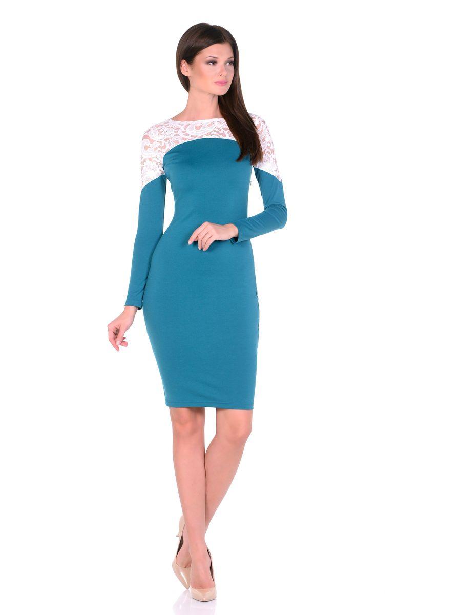 Платье La Via Estelar, цвет: изумрудный. 14672. Размер 4414672Роскошное платье La Via Estelar выполнено из вискозы и полиэстера с добавлением лайкры. Верх платья оформлен кружевной вставкой. Модель миди-длины с круглым вырезом горловины и длинными рукавами. Имеет скрытую застежку-молнию сбоку.
