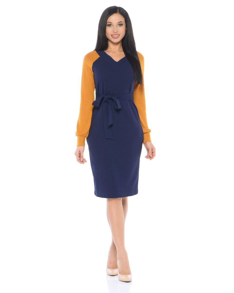 Платье La Via Estelar, цвет: синий, горчичный. 14665-2. Размер 4414665-2Платье La Via Estelar имеет свободный силуэт, дополнено поясом. Оформлено контрастными рукавами.