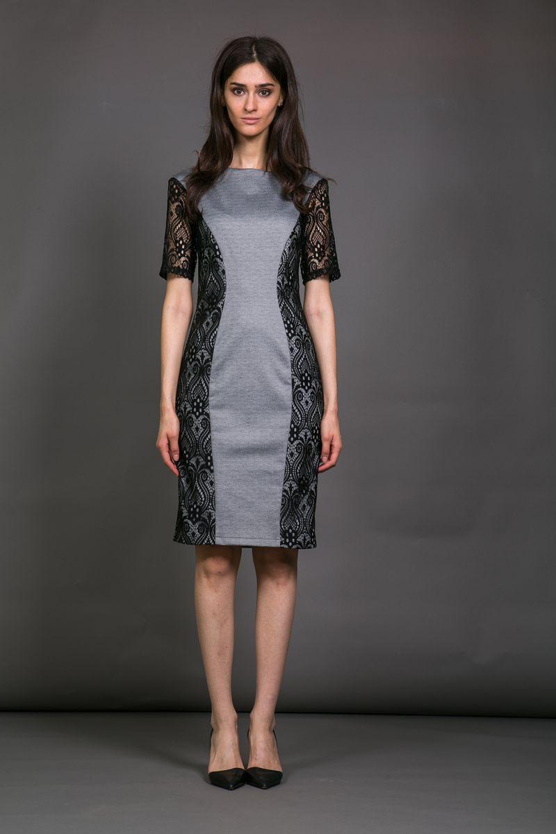Платье La Via Estelar, цвет: серый, черный. 12001. Размер 4612001Элегантное женское платье La Via Estelar приталенного силуэта с воротником-лодочкой и коротким рукавом украшено кружевными вставками. На спинке имеет скрытую застежку-молнию.