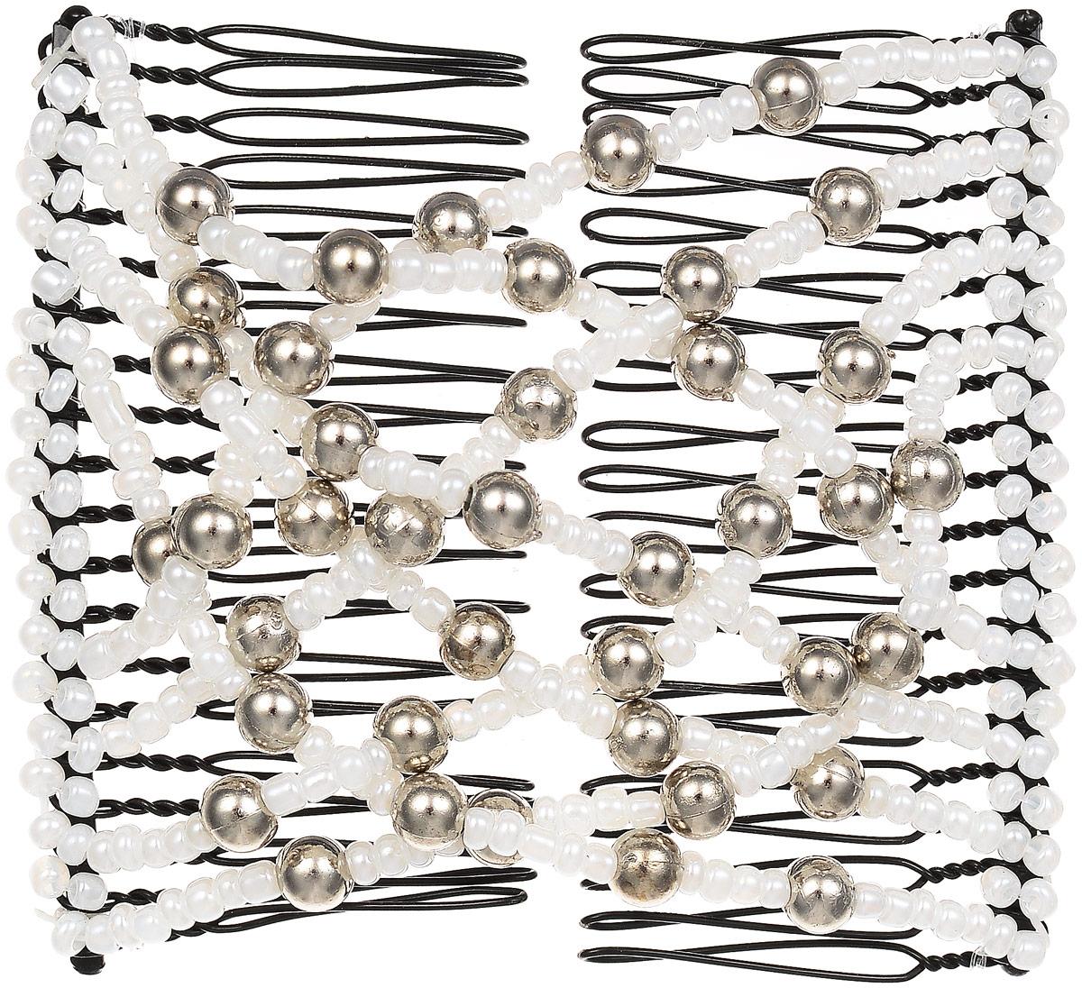 EZ-Combs Заколка Изи-Комбс, одинарная, цвет: белый, серебристый. ЗИО ez combs заколка изи комбс одинарная цвет коричневый зио сердечки