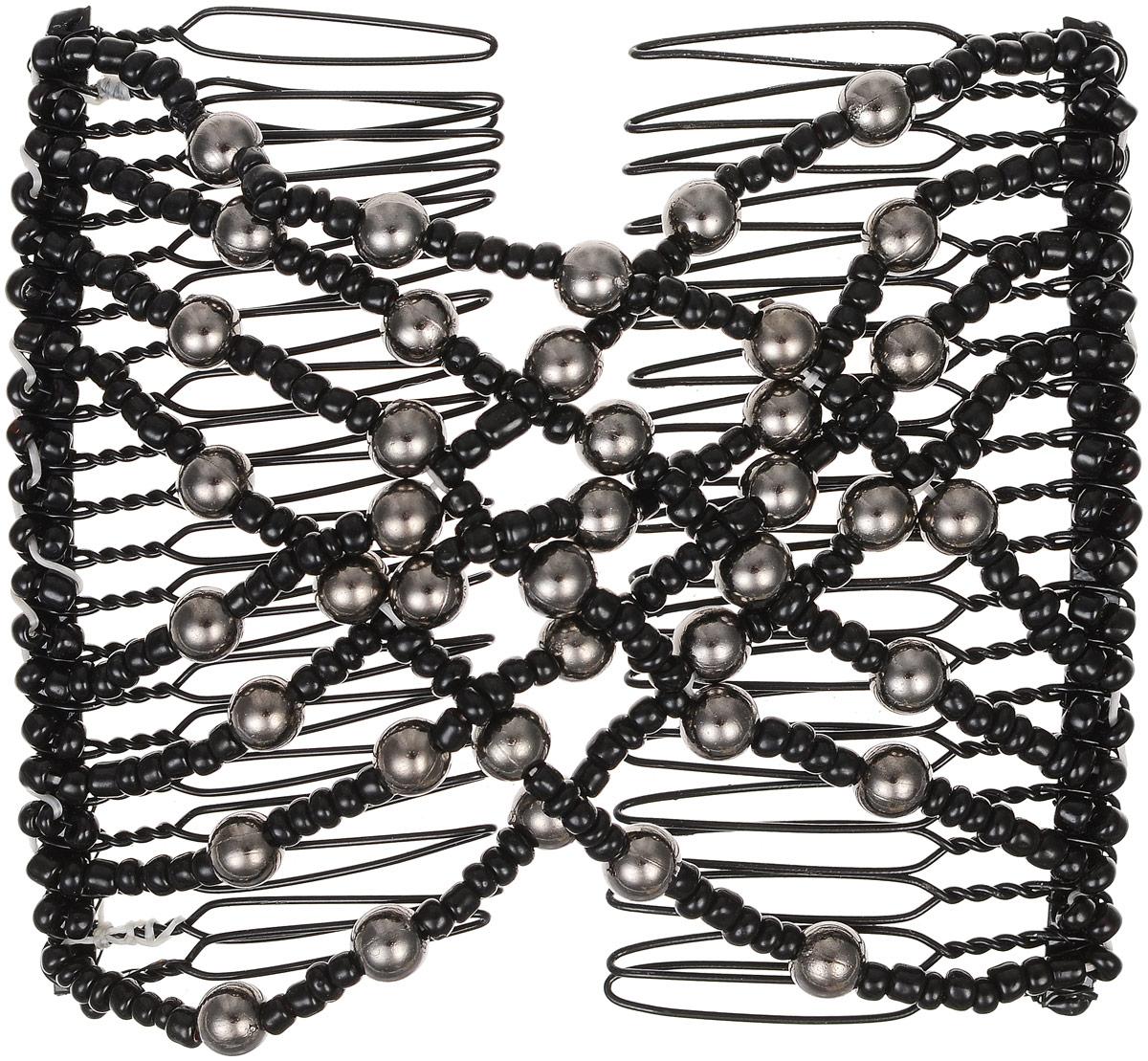 EZ-Combs Заколка Изи-Комбс, одинарная, цвет: черный, серебристый. ЗИО ez combs заколка изи комбс одинарная цвет коричневый зио цветок с серебром