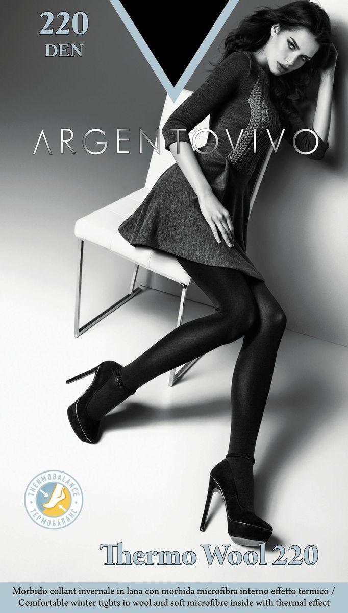 Колготки женские Argentovivo Thermo Wool 220, цвет: Nero (черный). 31460. Размер 5 (50/54) кальсоны woodland ultra wool thermo цвет черный 0057768 размер xxxl 58 60