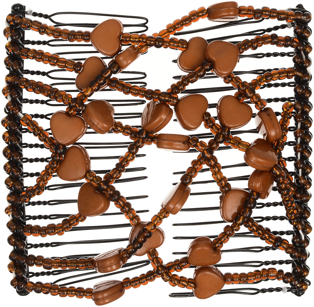 EZ-Combs Заколка Изи-Комбс, одинарная, цвет: коричневый. ЗИО_сердечкиЗИО_коричневый, сердечкиУдобная и практичная EZ-Combs подходит для любого типа волос: тонких, жестких, вьющихся или прямых, и не наносит им никакого вреда. Заколка не мешает движениям головы и не создает дискомфорта, когда вы отдыхаете или управляете автомобилем. Каждый гребень имеет по 20 зубьев для надежной фиксации заколки на волосах! И даже во время бега и интенсивных тренировок в спортзале EZ-Combs не падает; она прочно фиксирует прическу, сохраняя укладку в первозданном виде.Небольшая и легкая заколка для волос EZ-Combs поместится в любой дамской сумочке, позволяя быстро и без особых усилий создавать неповторимые прически там, где вам это удобно. Гребень прекрасно сочетается с любой одеждой: будь это классический или спортивный стиль, завершая гармоничный облик современной леди. И неважно, какой образ жизни вы ведете, если у вас есть EZ-Combs, вы всегда будете выглядеть потрясающе.