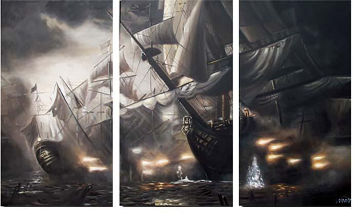 Картина Арт78 Баталия, модульная, 90 см х 70 см. арт780009-3арт780009-3Ничто так не облагораживает интерьер, как хорошая картина. Особенную атмосферу создаст крупное художественное полотно, размеры которого более метра. Подобные произведения искусства, выполненные в традиционной технике (холст, масляные краски), чрезвычайно капризны: требуют сложного ухода, регулярной реставрации, особого микроклимата – поэтому они просто не могут существовать в условиях обычной городской квартиры или загородного коттеджа, и требуют больших затрат. Данное полотно идеально приспособлено для создания изысканной обстановки именно у Вас. Это полотно создано с использованием как традиционных натуральных материалов (холст, подрамник - сосна), так и материалов нового поколения – краски, фактурный гель (придающий картине внешний вид масляной живописи, и защищающий ее от внешнего воздействия). Благодаря такой композиции, картина выглядит абсолютно естественно, и отличить ее от традиционной техники может только специалист. Но при этом изображение отлично смотрится с любого расстояния, под любым углом и при любом освещении. Картина не выцветает, хорошо переносит даже повышенный уровень влажности. При необходимости ее можно протереть сухой салфеткой из мягкой ткани.