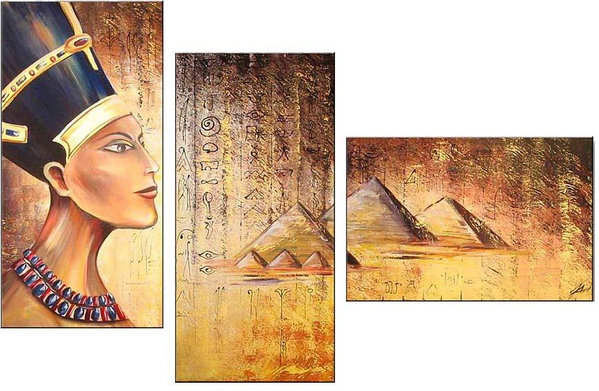 Картина Арт78 Фараон, модульная, 100 см х 60 см. арт780015-3арт780015-3Ничто так не облагораживает интерьер, как хорошая картина. Особенную атмосферу создаст крупное художественное полотно, размеры которого более метра. Подобные произведения искусства, выполненные в традиционной технике (холст, масляные краски), чрезвычайно капризны: требуют сложного ухода, регулярной реставрации, особого микроклимата – поэтому они просто не могут существовать в условиях обычной городской квартиры или загородного коттеджа, и требуют больших затрат. Данное полотно идеально приспособлено для создания изысканной обстановки именно у Вас. Это полотно создано с использованием как традиционных натуральных материалов (холст, подрамник - сосна), так и материалов нового поколения – краски, фактурный гель (придающий картине внешний вид масляной живописи, и защищающий ее от внешнего воздействия). Благодаря такой композиции, картина выглядит абсолютно естественно, и отличить ее от традиционной техники может только специалист. Но при этом изображение отлично смотрится с любого расстояния, под любым углом и при любом освещении. Картина не выцветает, хорошо переносит даже повышенный уровень влажности. При необходимости ее можно протереть сухой салфеткой из мягкой ткани.