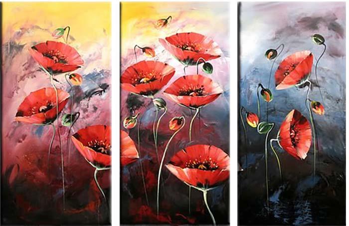 Картина Арт78 Маки, модульная, 80 см х 60 см. арт780017-3арт780017-3Ничто так не облагораживает интерьер, как хорошая картина. Особенную атмосферу создаст крупное художественное полотно, размеры которого более метра. Подобные произведения искусства, выполненные в традиционной технике (холст, масляные краски), чрезвычайно капризны: требуют сложного ухода, регулярной реставрации, особого микроклимата – поэтому они просто не могут существовать в условиях обычной городской квартиры или загородного коттеджа, и требуют больших затрат. Данное полотно идеально приспособлено для создания изысканной обстановки именно у Вас. Это полотно создано с использованием как традиционных натуральных материалов (холст, подрамник - сосна), так и материалов нового поколения – краски, фактурный гель (придающий картине внешний вид масляной живописи, и защищающий ее от внешнего воздействия). Благодаря такой композиции, картина выглядит абсолютно естественно, и отличить ее от традиционной техники может только специалист. Но при этом изображение отлично смотрится с любого расстояния, под любым углом и при любом освещении. Картина не выцветает, хорошо переносит даже повышенный уровень влажности. При необходимости ее можно протереть сухой салфеткой из мягкой ткани.