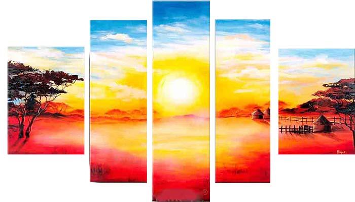 Картина Арт78 Рассвет, модульная, 200 см х 120 см. арт780028арт780028Модульная картина - это прекрасное решение для декора помещения. Картина состоит из пяти модулей. Холст натянут на подрамник галерейной натяжкой и закреплен с обратной стороны. Это полотно создано с использованием как традиционных натуральных материалов - холст, подрамник - сосна, так и материалов нового поколения - краски, фактурный гель, который придает картине внешний вид масляной живописи, и защищает ее от внешнего воздействия. Благодаря такой композиции, картина выглядит абсолютно естественно, и отличить ее от традиционной техники может только специалист. Но при этом изображение отлично смотрится с любого расстояния, под любым углом и при любом освещении. Картина не выцветает, хорошо переносит даже повышенный уровень влажности.Рекомендованное расстояние между сегментами составляет 1,5-2 см.Уход: можно протирать сухой мягкой тканью.