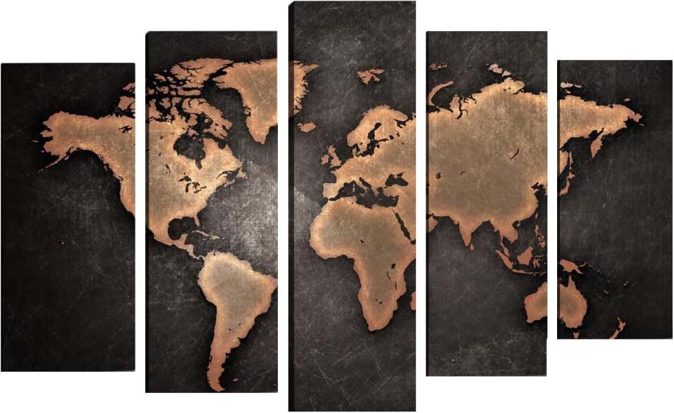 Картина Арт78 Карта, модульная, 90 см х 60 см. арт780044-3арт780044-3Ничто так не облагораживает интерьер, как хорошая картина. Особенную атмосферу создаст крупное художественное полотно, размеры которого более метра. Подобные произведения искусства, выполненные в традиционной технике (холст, масляные краски), чрезвычайно капризны: требуют сложного ухода, регулярной реставрации, особого микроклимата – поэтому они просто не могут существовать в условиях обычной городской квартиры или загородного коттеджа, и требуют больших затрат. Данное полотно идеально приспособлено для создания изысканной обстановки именно у Вас. Это полотно создано с использованием как традиционных натуральных материалов (холст, подрамник - сосна), так и материалов нового поколения – краски, фактурный гель (придающий картине внешний вид масляной живописи, и защищающий ее от внешнего воздействия). Благодаря такой композиции, картина выглядит абсолютно естественно, и отличить ее от традиционной техники может только специалист. Но при этом изображение отлично смотрится с любого расстояния, под любым углом и при любом освещении. Картина не выцветает, хорошо переносит даже повышенный уровень влажности. При необходимости ее можно протереть сухой салфеткой из мягкой ткани.