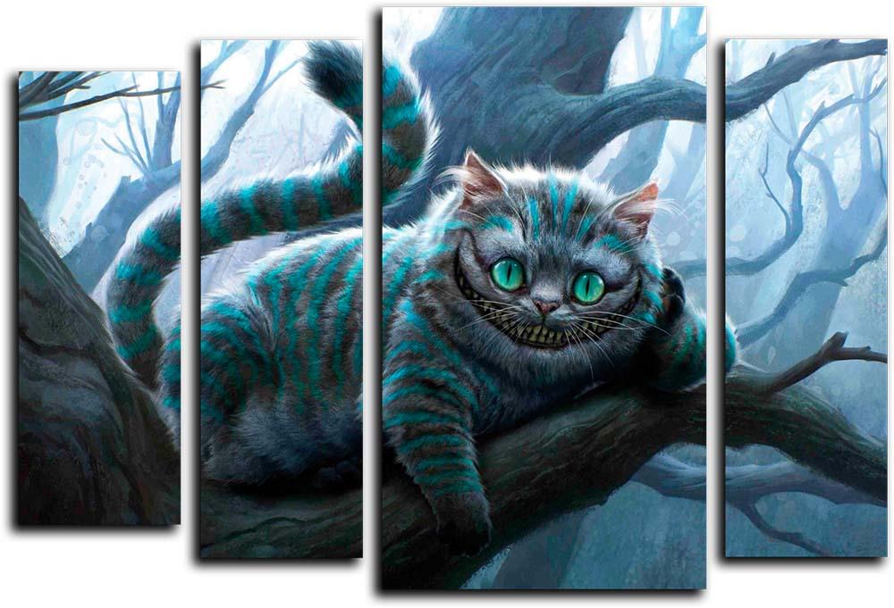 Картина Арт78 Чеширский кот, модульная, 125 см х 90 см. арт780045-2арт780045-2Ничто так не облагораживает интерьер, как хорошая картина. Особенную атмосферу создаст крупное художественное полотно, размеры которого более метра. Подобные произведения искусства, выполненные в традиционной технике (холст, масляные краски), чрезвычайно капризны: требуют сложного ухода, регулярной реставрации, особого микроклимата – поэтому они просто не могут существовать в условиях обычной городской квартиры или загородного коттеджа, и требуют больших затрат. Данное полотно идеально приспособлено для создания изысканной обстановки именно у Вас. Это полотно создано с использованием как традиционных натуральных материалов (холст, подрамник - сосна), так и материалов нового поколения – краски, фактурный гель (придающий картине внешний вид масляной живописи, и защищающий ее от внешнего воздействия). Благодаря такой композиции, картина выглядит абсолютно естественно, и отличить ее от традиционной техники может только специалист. Но при этом изображение отлично смотрится с любого расстояния, под любым углом и при любом освещении. Картина не выцветает, хорошо переносит даже повышенный уровень влажности. При необходимости ее можно протереть сухой салфеткой из мягкой ткани.