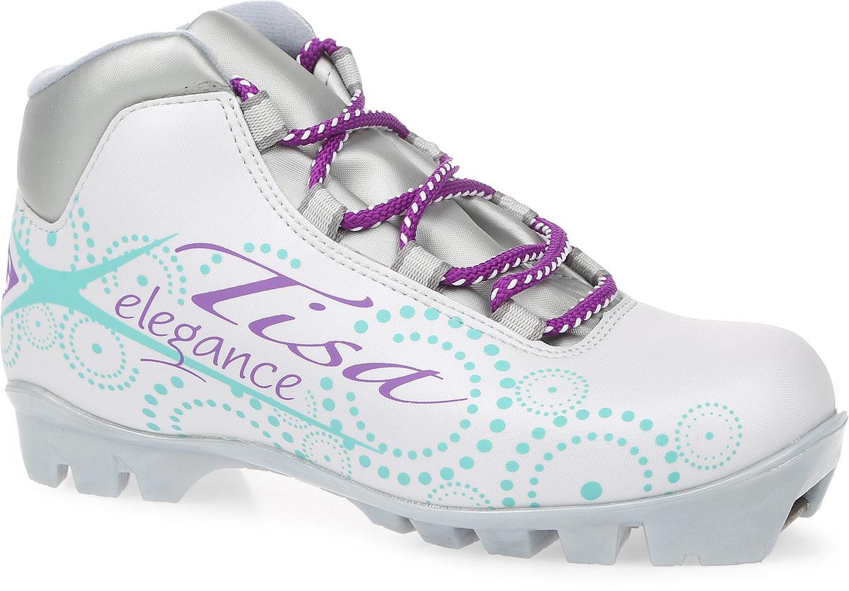 Ботинки лыжные беговые Tisa Sport Lady NNN, цвет: белый, серый, бирюзовый. Размер 35S75215Ботинки Tisa Sport Lady NNN выполнены из искусственных материалов в классическом стиле и предназначены для лыжных прогулок и туризма. Сплошной язычок предотвращает проникновение снега и влаги. Подкладка, исполненная из мягкого флиса и искусственного меха, защитит ноги от холода и обеспечит уют. Верх изделия оформлен удобной шнуровкой с петлями из текстиля. Вставки в мысовой и пяточной частях предназначены для дополнительной жесткости. Подошва системы NNN выполнена из полимерного термопластичного материала. С одной из боковых сторон лыжные ботинки дополнены принтом в виде логотипа бренда и названия модели.