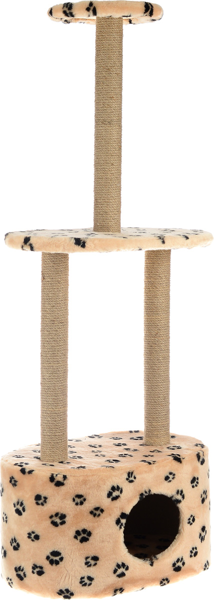 Игровой комплекс для кошек Меридиан, 3-ярусный, с домиком и когтеточкой, цвет: бежевый, черный, 51 х 33 х 131 см бра 22 х 33 х 33