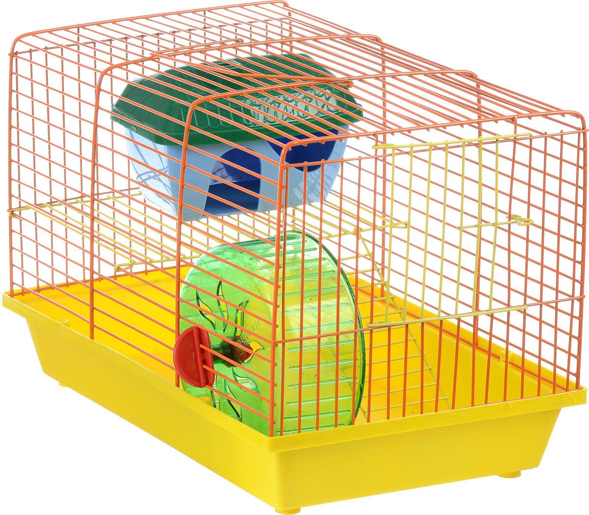 Клетка для грызунов ЗооМарк, 2-этажная, цвет: желтый поддон, оранжевая решетка, желтый этаж, 36 х 22 х 24 см125_желтый, оранжевыйКлетка ЗооМарк, выполненная из полипропилена и металла, подходит для мелких грызунов. Изделие двухэтажное, оборудовано колесом для подвижных игр и пластиковым домиком. Клетка имеет яркий поддон, удобна в использовании и легко чистится. Сверху имеется ручка для переноски, а сбоку удобная дверца. Такая клетка станет уединенным личным пространством и уютным домиком для маленького грызуна.