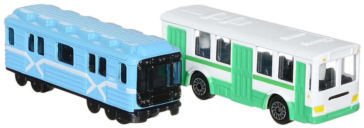 ТехноПарк Набор машинок Городской транспорт 2 шт машинки технопарк вагон метро технопарк металл свет звук открыв двери