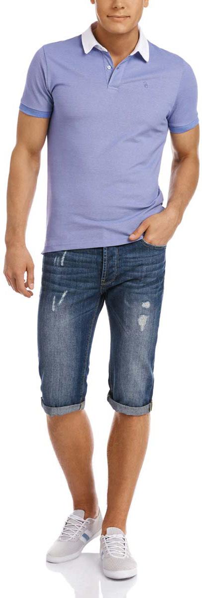 Поло мужское oodji Lab, цвет: голубой, белый. 5L412193M/34644N/7510O. Размер L (52/54)