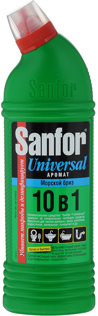 Средство для чистки и дезинфекции Sanfor Universal, 10 в 1, морской бриз, 750 мл4602984004065Sanfor Universal заменит 10 специальных чистящих средств для разных поверхностей и областей применения: легко и быстро отчистит раковины, ванны и душевые кабины, унитазы, сливы и водостоки, керамическую плитку, любые твердые моющиеся напольные покрытия, настенные панели, моющиеся обои, бытовую технику. Подходит для уборки и дезинфекции туалетов для животных. Эффективно устраняет серый налет, плесень, жир, мыльные потеки, въевшиеся пятна от продуктов питания и другие загрязнения. Благодаря загущенной формуле экономичен в расходе. Обеспечивает свежий запах. Обладает антимикробными свойствами. Состав: 5 % или более, но менее 15 % - гипохлорит натрия (калия), менее 5 % - АПАВ и НПАВ, менее 5 %: щелочь, ароматизатор.Товар сертифицирован.