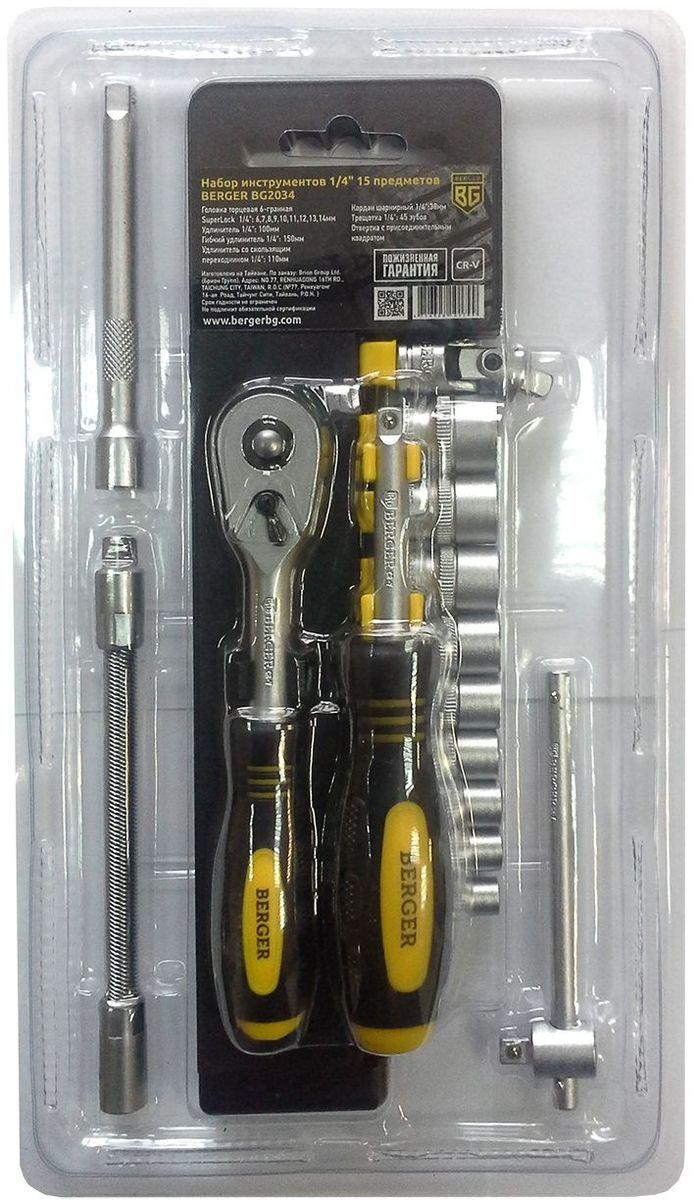 Набор инструментов Berger, 1/4, 15 предметов. BG2034BG2034Универсальный набор инструментов Berger используется для выполнения ремонтных и монтажных работ. Инструменты уложены в кейс, где каждыйзанимает определенное место. Все изделия изготовлены из высокопрочной хромованадиевой стали. Инструменты проходят двойной контроль коррозионнойустойчивости. Для удобной работы некоторые предметы оснащены эргономичными рукоятками, которые не скользят и удобно фиксируются в руке,что создает комфорт в работе.В наборе:- 9 головок торцевых 6-гранных Super lock 1/4: 6,7,8,9,10,11,12,13,14 мм;- удлинитель 1/4;- гибкийудлинитель 1/4;- удлинитель со скользящим переходником 1/4;- кардан шарнирный 1/4;- трещотка 1/4;- отвертка с присоединительнымквадратом.
