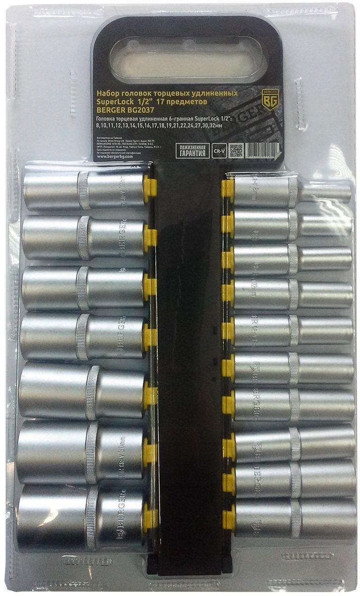 Набор головок торцевых Berger SuperLock, удлиненных, 1/2, 17 предметов. BG2037BG2037Набор торцевых головок Berger SuperLock предназначен для строительных работ при сборке металлоконструкций, мебели и других работах с крепежной оснасткой. В набор входит 17 головок диаметрами: 8 мм, 10 мм, 11 мм, 12 мм, 13 мм, 14 мм, 15 мм, 16 мм, 17 мм, 18 мм, 19 мм, 21 мм, 22 мм, 24 мм, 27 мм, 30 мм, 32 мм.