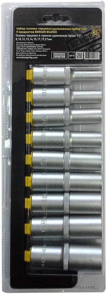 Набор головок торцевых Berger Spline, удлинненных, 1/2, 9 предметов. BG2038BG2038Набор торцевых головок Berger Spline предназначен для строительных работпри сборке металлоконструкций, мебели и других работах с крепежной оснасткой.В наборе 9 головок диаметрами: 8 мм, 10 мм, 12 мм, 13 мм, 14 мм, 15 мм, 17 мм, 19 мм, 21 мм.