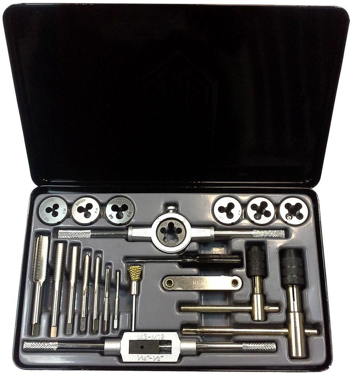 Набор плашек и метчиков Berger, 21 предмет. BG21TDSBG21TDSНабор плашек и метчиков Berger используется для нарезания различной резьбы на внутренних и внешних металлических поверхностях. Метчико- и плашкодержатели оснащены удобными рукоятками, что обеспечивает комфортную работу инструментом.В наборе:- 7 плашек: М3 х 0,5; М4 х 0,7; М5 х 0,8; М6 х 1,0; М8 х 1,25; М10 х 1,5; М12 x 1,25 мм,- 7 однопроходных метчиков: М3 х 0,5; М4 х 0,7; М5 х 0,8; М6 х 1,0; М8 х 1,25; М10 х 1,5; М12 x 1,25 мм, 1 ключ для плашек 25 х 9, - 1 ключ для метчиков М3-М12,- 1 Т-образный быстрозажимной ключ для метчиков М3-М6,- 1 Т-образный быстрозажимной ключ для метчиков М5-М12,- 1 резьбомер 0,5-2,5 мм,- 1 щетка,- 1 отвертка.