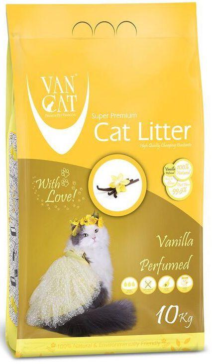 Наполнитель для кошачьих туалетов Van Cat, комкующийся, без пыли, с ароматом ванили, 10 кг20638Наполнитель для кошачьего туалета Van Cat эффективно удерживает запах, а специальный ароматизатор подарит вашему дому приятный аромат ванили. Обладает высокой абсорбцией, отлично комкуется, не пылит, лапы остаются чистыми.Не прилипает к лапам и шерсти. Не содержит химических примесей. Безопасен для животных и окружающей среды. Сохраняет лоток сухим, прост в уборке. Размер гранул: 0,6-2,25 мм. Товар сертифицирован.
