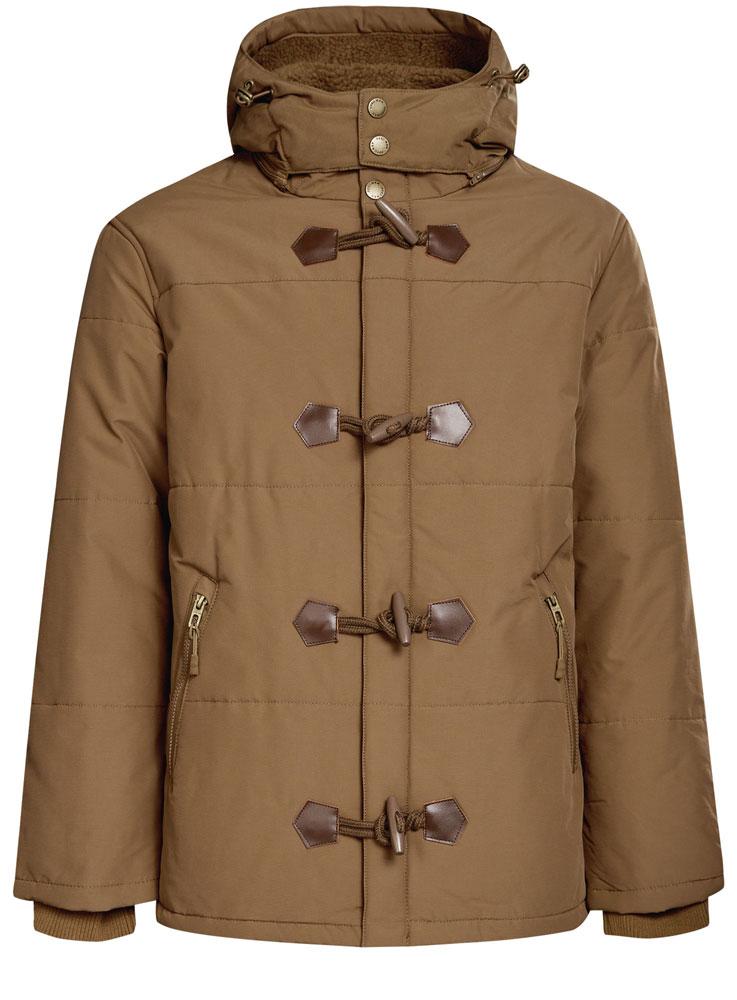 Куртка мужская oodji, цвет: темно-бежевый. 1L412025M/34716N/3500N. Размер S-182 (46/48-182)1L412025M/34716N/3500N