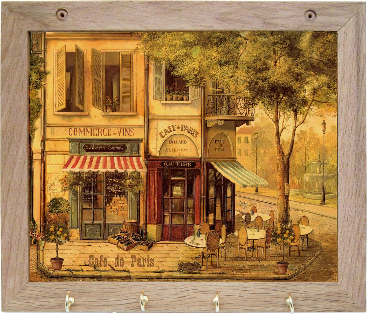 Вешалка GiftnHome Парижское кафе, с 4 крючками, 20 х 25 смTH-CafeВешалка GiftnHome Парижское кафе в стиле Art-Casual изготовлена из натурального дерева в комбинации с модными цветными принтами на корпусе отКреативной студии AntonioK. Вешалка снабжена 4 металлическими крючками для подвешивания аксессуаров, полотенец, прихваток и другоготекстиля.Это изделие больше, чем просто вешалка, оно несет интерьерное решение, задает настроение и стиль на вашей кухне, столовой или дачнойверанде.Art-Casual значит буквально повседневное искусство. Это новый стиль предложения обычных домашних аксессуаров в качестве элементов,задающих стиль и шарм окружающего пространства. Уникальное сочетание привычной функциональности и декоративной, интерьерной функции -это актуальная, современная тенденция от прогрессивных производителей товаров для дома.