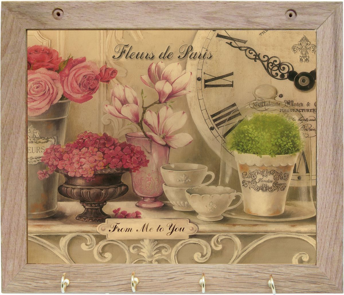 Вешалка GiftnHome Парижские цветы, с 4 крючками, 20 х 25 смTH-FleursВешалка GiftnHome Парижские цветы в стиле Art-Casual изготовлена из натурального дерева в комбинации с модными цветными принтами на корпусе от Креативной студии AntonioK. Вешалка снабжена 4 металлическими крючками для подвешивания аксессуаров, полотенец, прихваток и другого текстиля. Это изделие больше, чем просто вешалка, оно несет интерьерное решение, задает настроение и стиль на вашей кухне, столовой или дачной веранде. Art-Casual значит буквально повседневное искусство. Это новый стиль предложения обычных домашних аксессуаров в качестве элементов, задающих стиль и шарм окружающего пространства. Уникальное сочетание привычной функциональности и декоративной, интерьерной функции - это актуальная, современная тенденция от прогрессивных производителей товаров для дома.
