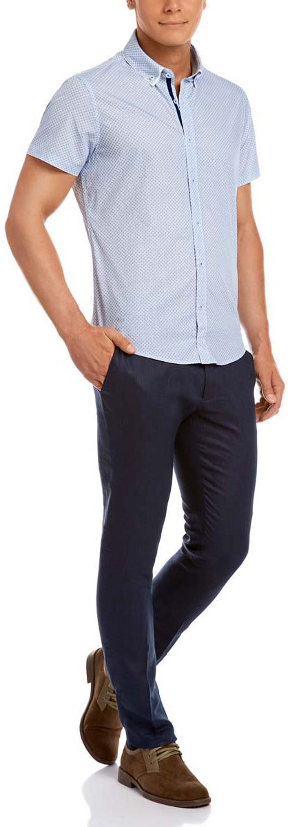 Рубашка мужская oodji, цвет: белый, синий. 3L210026M/19370N/1075G. Размер 37-182 (42-182)3L210026M/19370N/1075GМужская рубашка oodji из натурального хлопка скроена по классическому силуэту и плотно садится по фигуре. Имеет короткие рукава, застегивается на пуговицы спереди. Две запасные пуговицы подшиты с обратной стороны полы. Оформлена двойным воротничком.