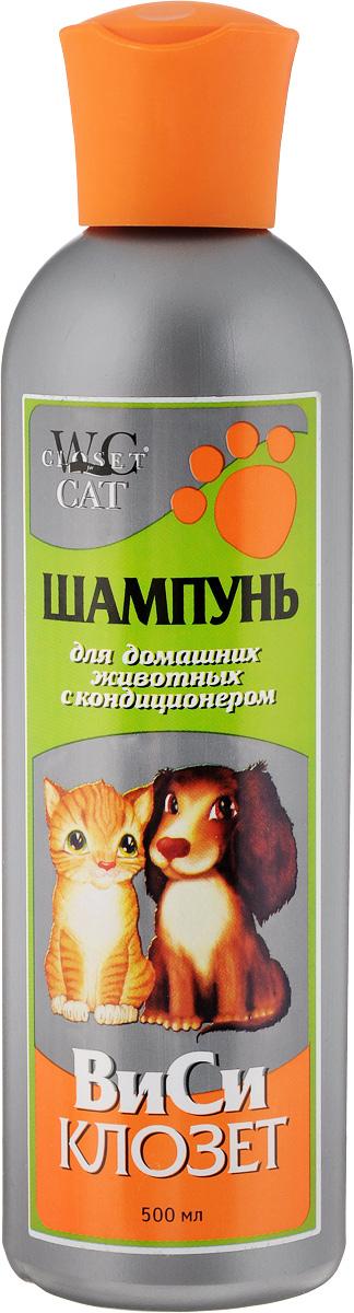 Шампунь для кошек и собак ВиСи Клозет, с кондиционером, 500 мл. 2510 шампунь кондиционер для собак mr bruno мягкий плюш для мягкой шерсти 350 мл