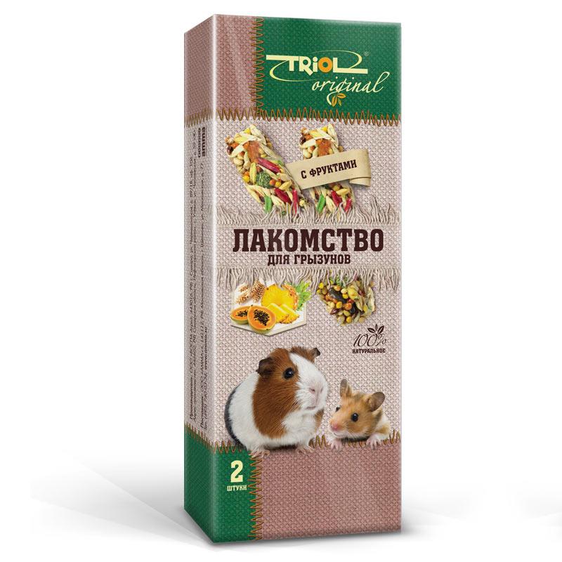 Лакомство для грызунов Triol Original, палочки, с фруктами, 2 шт корм для животных triol лакомство для грызунов с мёдом уп 3 шт