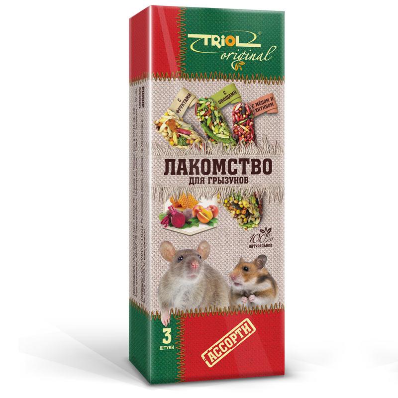 Лакомство для грызунов Triol Original, палочки, ассорти, 3 шт корм для животных triol лакомство для грызунов с мёдом уп 3 шт