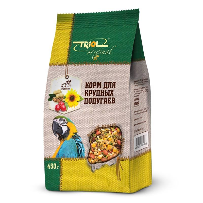 Корм Triol Original для крупных попугаев, 450 гTF-00500Корм Triol Original содержит только натуральные ингредиенты и изготовлен из отборного зерна. Оригинальная рецептура учитывает пищевые потребности вашего пернатого питомца. Сбалансированный и разнообразный состав не только удовлетворяет вкусовым предпочтениям, но и укрепляет здоровье. Полнорационный корм, разработанный специально для крупных попугаев. Изготовлен исключительно из натуральных ингредиентов природного происхождения, упакован в практичный четырехшовный пакет с плоским дном, сохраняющим свежесть корма.Состав:просо белое, просо красное, семена подсолнечника, овёс, овёс очищенный, гречка, ячмень, конопля, канареечник, суданка, сорго, сафлор, морковь, шиповник, витаминный комплекс. Товар сертифицирован.