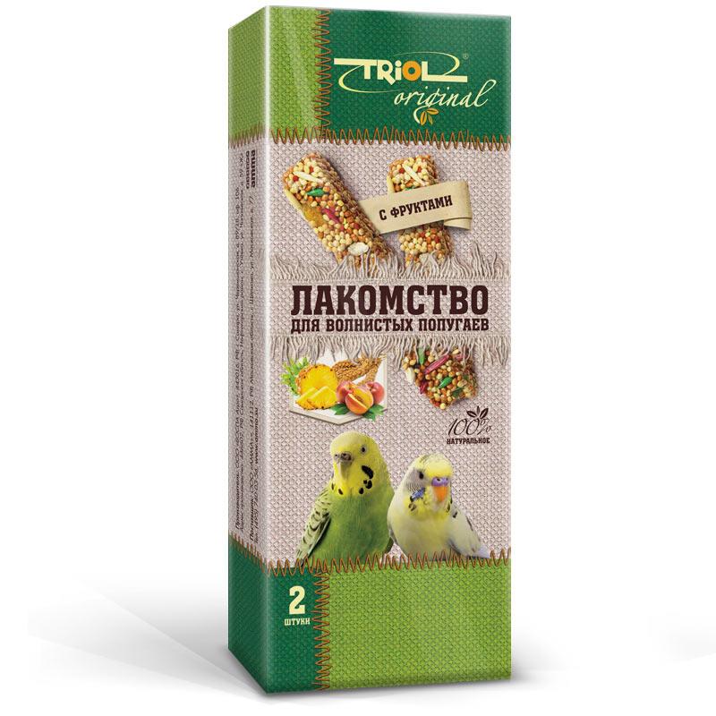 Лакомство для попугаев Triol Original, с фруктами, 2 шт padovan лакомство для волнистых попугаев и экзотических птиц stix herbs палочки антистрессовые