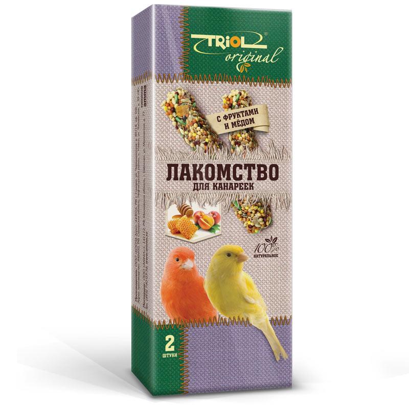 Лакомство для канареек Triol Original, палочки, с фруктами и медом, 2 штTF-20600Лакомство для канареек Triol Original содержит только натуральные ингредиенты и изготовлено из отборного зерна. Оригинальная рецептура учитывает пищевые потребности вашего пернатого питомца. Сбалансированный и разнообразный состав не только удовлетворяет вкусовым предпочтениям, но и укрепляет здоровье. Лакомство - дополнительное питание и развлечение для вашей птички, позволяющее также поточить клюв, что необходимо декоративным птицам, живущим в неволе. Состав: просо белое, просо красное, семена конопли, сафлор, канареечное семя, рапс, лен, овес, суданка, сухофрукты, мед, витаминный комплекс.Товар сертифицирован.