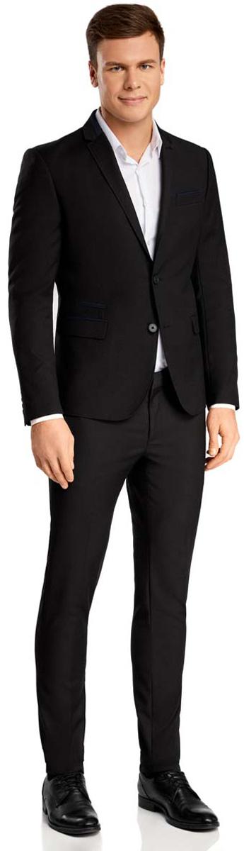 Пиджак мужской oodji, цвет: черный, темно-синий. 2L420162M/39713N/2979B. Размер 52-182 (52-182)2L420162M/39713N/2979BМужской пиджак oodji выполнен из полиэстера с добавлением вискозы. Модель с отложным воротником с лацканами и длинными рукавами застегивается на две пуговицы. Низ рукавов декорирован пуговицами. Спереди расположены три прорезных кармана, один из которых расположен на груди, с внутренней стороны - два прорезных кармана.