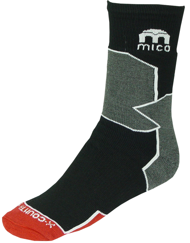 Носки спортивные мужские Mico, цвет: черный, серый. 196_007. Размер L (41/43)196_007Спортивные носки мужские. Официальная экипировка Итальянской национальной сборной по беговым лыжам. Носки предназначены для беговых лыж, но также могут использоваться для занятий различными видами спорта, прогулок или для повседневной носки зимой. Небольшое содержание шерсти 17% добавляет тепла. Высокотехнологичные нити полиамида обеспечивают прочность изделию и также работают на отведение влаги. Лайкра повышает эластичность носка и сохраняет форму. -Волокна Микотекс - это 100% полипропиленовые материал очень мягкий и слегка пушистый. Прекрасно впитывает влагу, быстро отводит ее от ноги и моментально сохнет. Эти волокна обладают высокими термоизоляционными свойствами, поэтому носки очень теплые. Плоские швы не натирают ногу при длительном использовании. Дополнительные эластичные вставки в области голеностопа и в области стопы. Мягкая резинка по верху носка не сжимает ногу и не дает ощущения сдавливания даже при длительном использовании. Специальное плетение в области стопы фиксирует ногу при занятиях спортом и ходьбе и не дает скользить стопе вперед.Итальянская компания Mico один из ведущих производителей носков и термобелья на Европейском рынке для занятий различными видами спорта. Носки предназначены для занятий различными видами спорта, в том числе для носки в городе в очень холодную погоду.