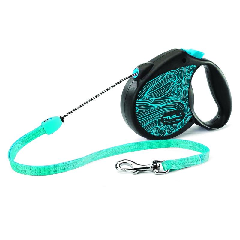 Поводок-рулетка Triol Colour, цвет: голубой, черный, длина 5 м. Размер M поводок рулетка triol colour dog длина 5 м размер s
