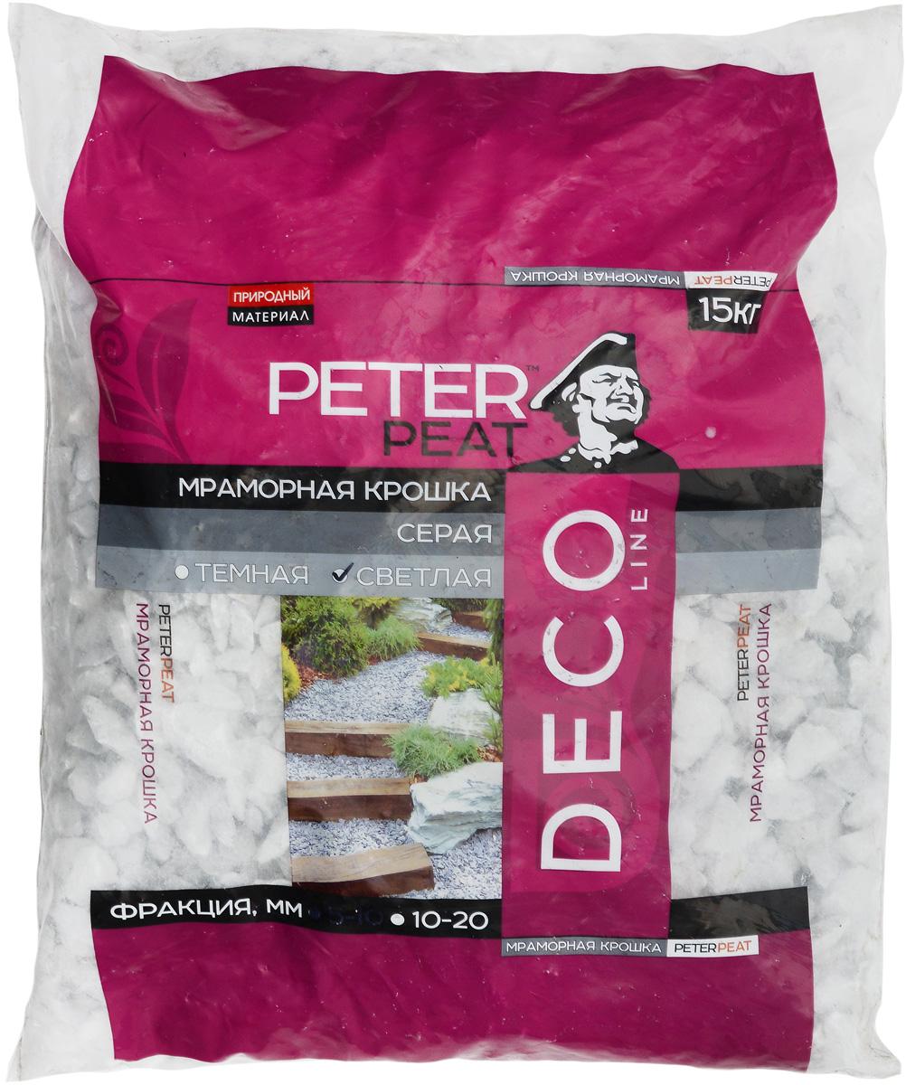 Крошка мраморная Peter Peat, цвет: светло-серый, фракция 10-20 мм, 15 кг крошка мраморная белая фракция 10 20 мм 10 кг п э пакет