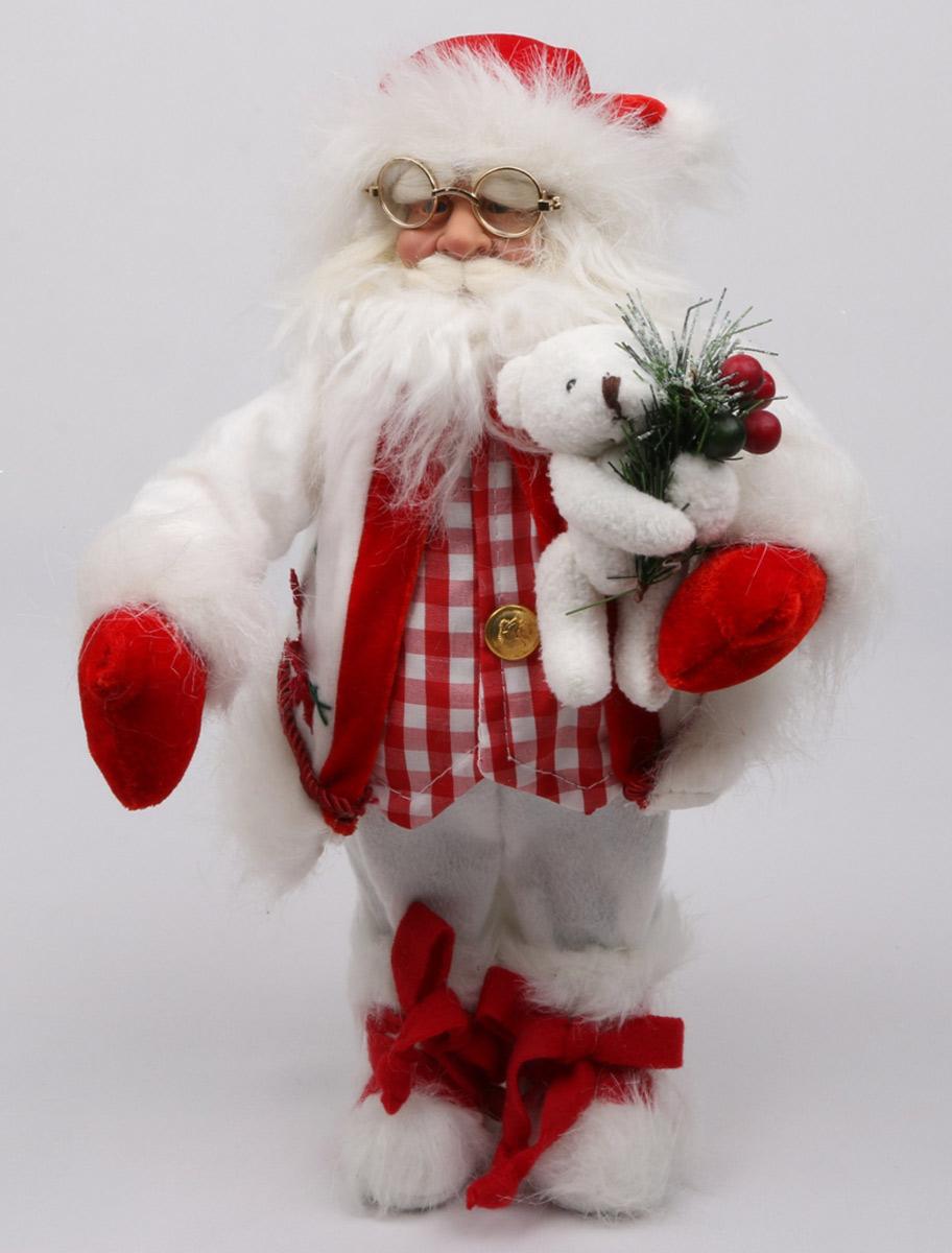 Фигурка новогодняя Estro, цвет: белый, красный, высота 30 см. C21-121167C21-121167Кукла создана вручную, неповторима и оригинальна. Порадуйте своих друзей и близких этим замечательным подарком!