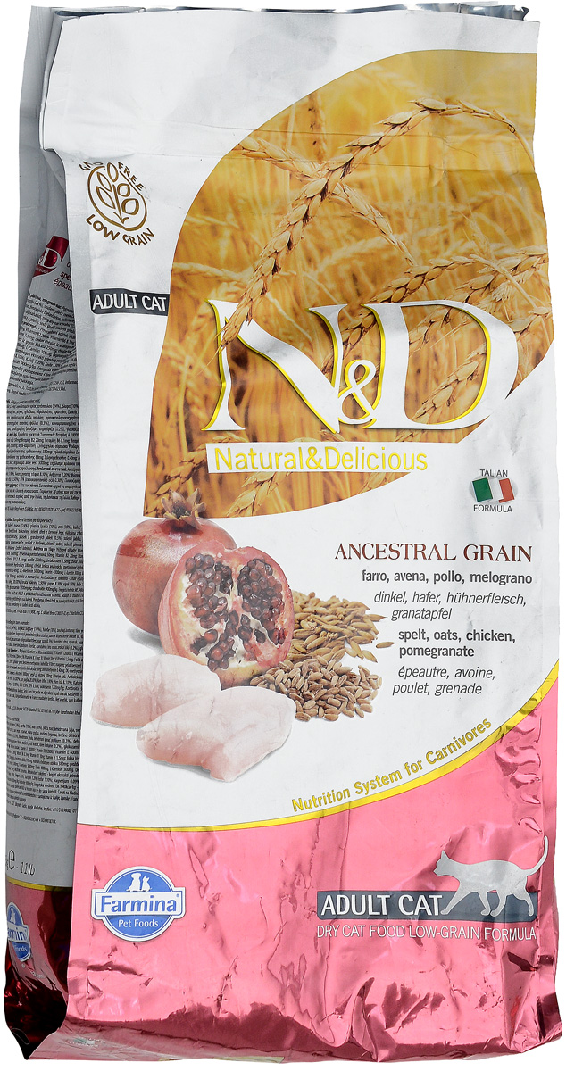 Корм сухой для взрослых кошек Farmina N&D, низкозерновой, с курицей и гранатом, 5 кг farmina farmina n