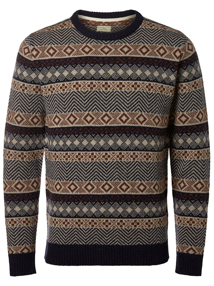 Джемпер мужской Selected Homme Heritage, цвет: темно-синий, серый. 16053469. Размер L (48) пуловер мужской selected homme identity цвет бордовый 16051696 размер l 48
