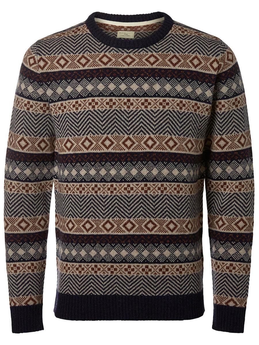 Джемпер мужской Selected Homme Heritage, цвет: темно-синий, серый. 16053469. Размер L (48) пиджак мужской selected homme цвет темно синий 16051948 разме�� 56