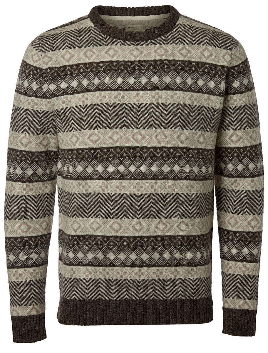 Джемпер мужской Selected Homme Heritage, цвет: серо-коричневый, светло-бежевый. 16053469. Размер L (48) пуловер мужской selected homme identity цвет бордовый 16051696 размер l 48